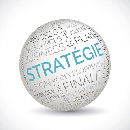 French strategy theme sphere with keywords Illustration