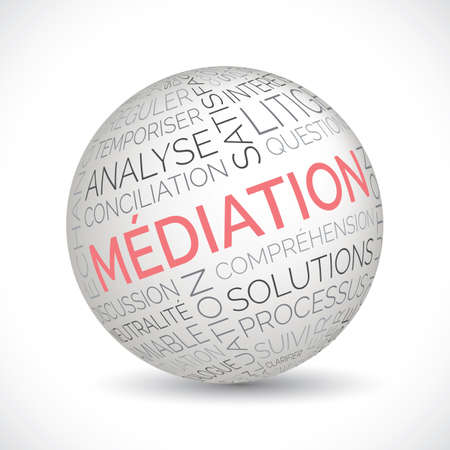 French mediation theme sphere with keywords Illustration