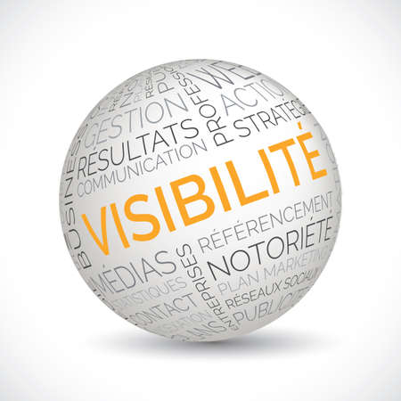 French visibility theme sphere with keywords Illustration