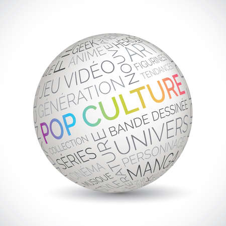 French pop culture theme sphere with keywords
