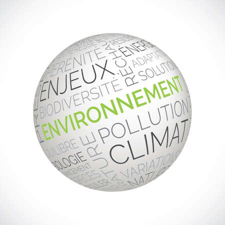 French environment theme sphere with keywords Illustration