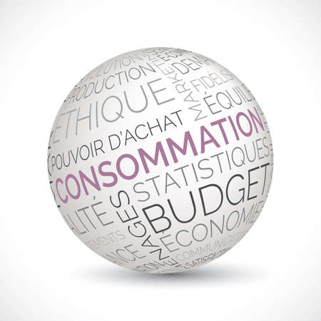 French consumption theme sphere with keywords Illustration