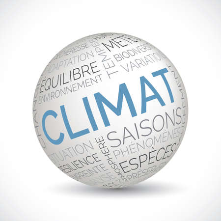 French climate theme sphere with keywords Illustration