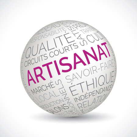 French craft theme sphere with keywords
