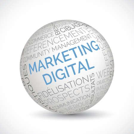 French digital marketing theme sphere with keywords