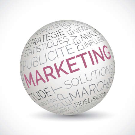 French marketing theme sphere with keywords Illustration