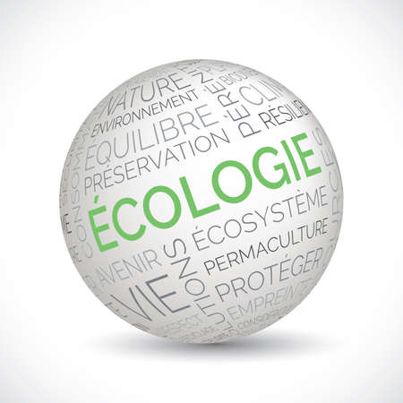 French ecology theme sphere with keywords