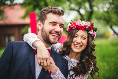 Wedding couple embracing each other. Moment of joy Stock Photo