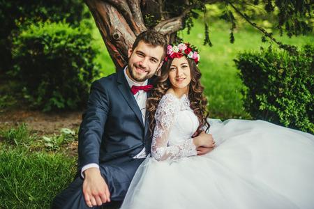 행복 한 커플, 신부 및 신랑 늙은 나무 근처 포옹