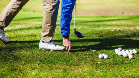 golf ball club tee golfplayer close-up 版權商用圖片