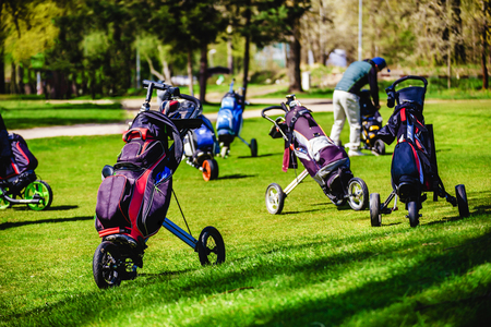 .Golf bags, Golf clubs in golf bag on the fairway.