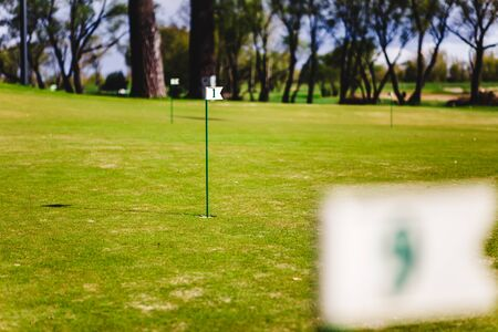game drive: close up of flag mark in hole on golf field. Stock Photo
