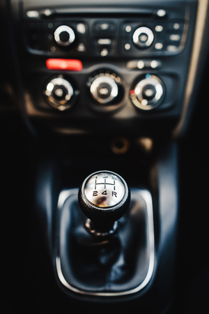 Manual Transmission Stick. Five Speed Car Transmission Stock Photo