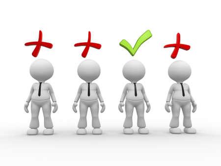 3d personnes - des hommes, des personnes avec le symbole positif et n�gatif. Banque d'images