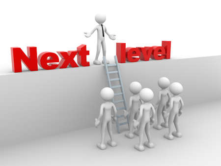 levels: 3d people - man, person with ladder.  Next level. Progress concept.