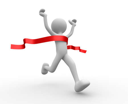 finish line: 3d people - man, person crossing the finishing line. Winner Stock Photo