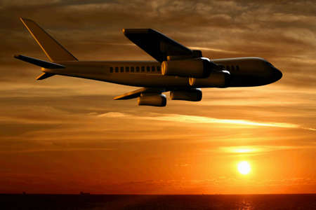 Airplane over the ocean and sunset clouds - 3d render