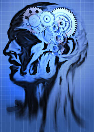 Abstract head with a gear in brain place