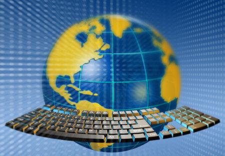 planetarnych: Streszczenie globusy Ziemi i klawiatury - 3d render