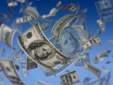 increment: Dollars fly on blue background