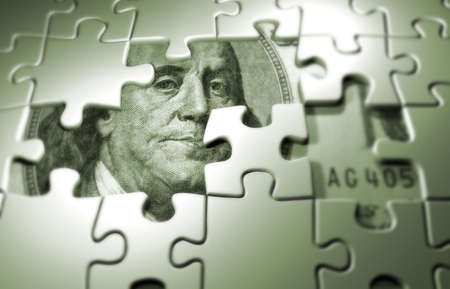 conection: Puzzle pieces on dollar background - 3d render