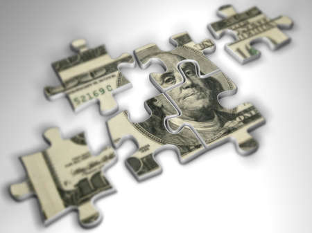 conection: Puzzle pieces - 3d render
