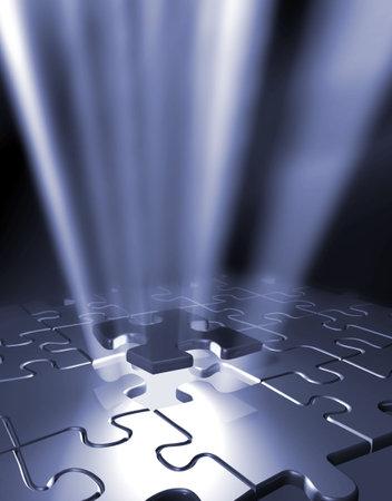 Puzzle pieces - 3d render photo