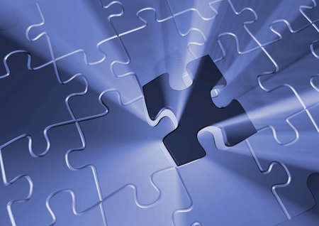 final piece of puzzle: Puzzle pieces - 3d render