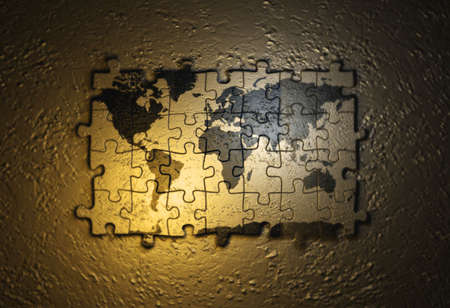 splice: World map on puzzle - 3d render