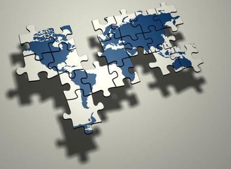 befejezetlen: Unfinished puzzle world map - 3d render