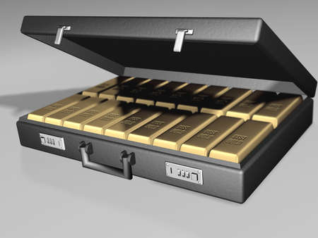Briefcase with gold - 3d render photo