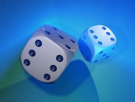 Conceptual two white dices with a six mark on front side - rendered in 3d photo