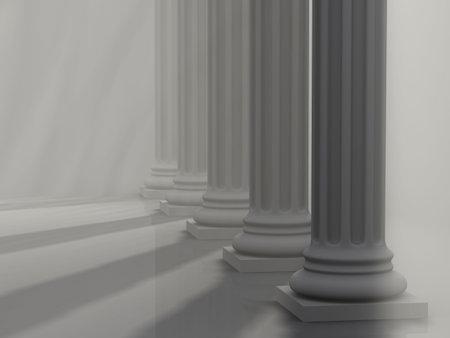 columnas romanas: Conceptual cinco columnas romanas, los rayos EFECTO, - 3d hacer Foto de archivo