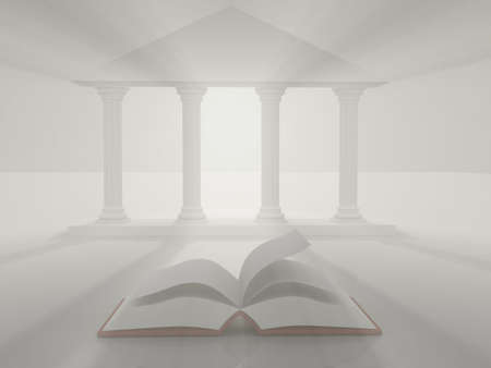 A conceptual blank book and a roman university gate - 3d render Stock Photo