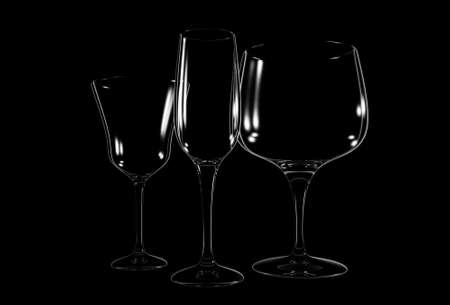 varied: Three different wine glass on black background - 3d render Stock Photo