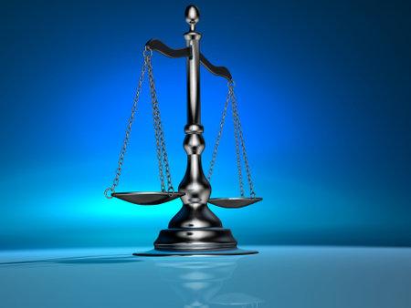balanza de la justicia: 3d randering conceptual de una escala de plata de lat�n