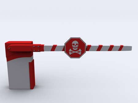 A red and white barrier with dead sign on white background - 3d render Stock Photo - 1991433
