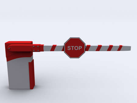 A red and white barrier on white background Stock Photo - 1991431