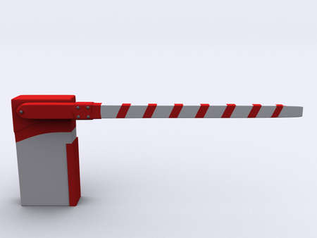 interdiction: A red and white barrier on white background