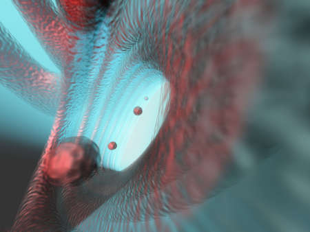 Abstract conceptual scene representing mircroscopic biological structure of particle flying  through a tube - 3d render Stock Photo - 1997285
