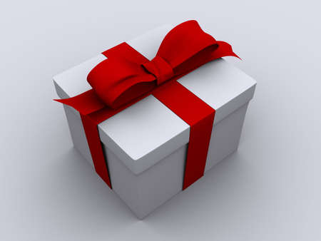 Present box with red bow - 3d render photo