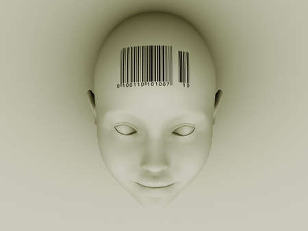 codebar: Conceptual head with barcode on forehead - 3d render