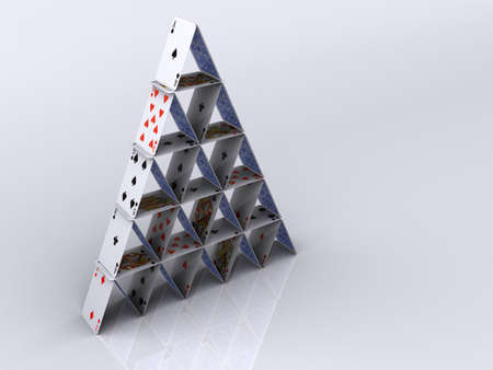 Conceptual pyramid house of play cards - 3d rendering