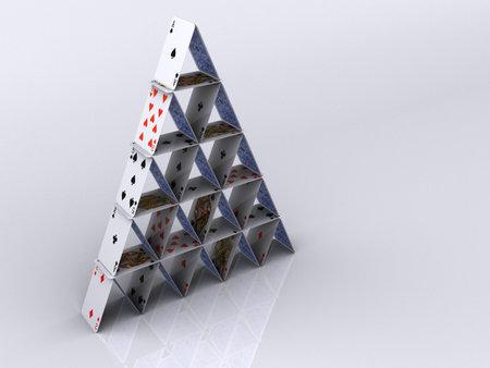Konzeptionelle Pyramide Haus spielen Karten - 3D-Rendering