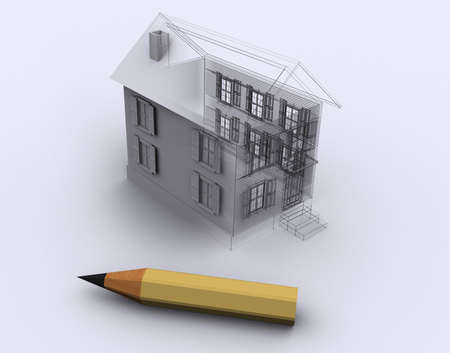 arhitecture: Conceptual house and a pencil - 3d render