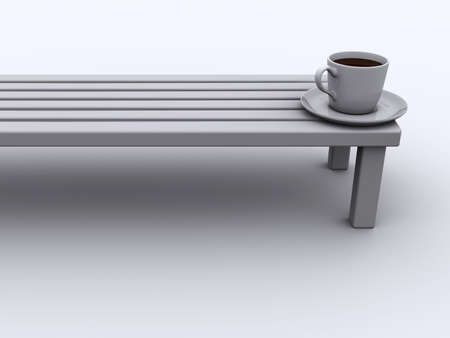 banquette: Conceptual coffee cup on a banquette - 3d render