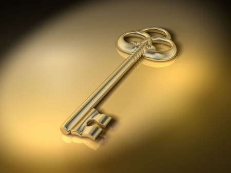 keys to success: A golden old style key - 3d render