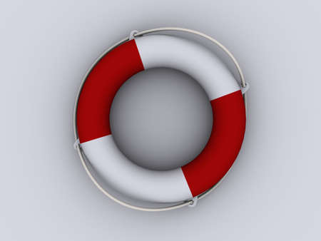 Red and white life buoy on white background - 3d render Stock Photo - 1991498