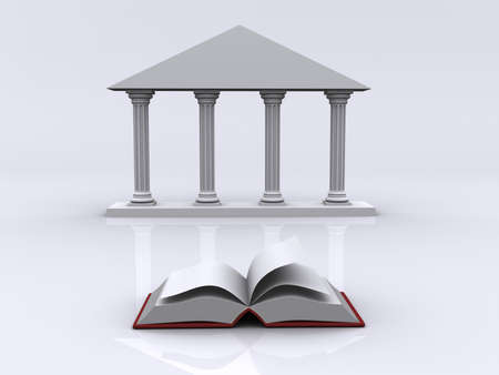architectural studies: Conceptual ionic-style Greek architecture and a book - 3d render Stock Photo
