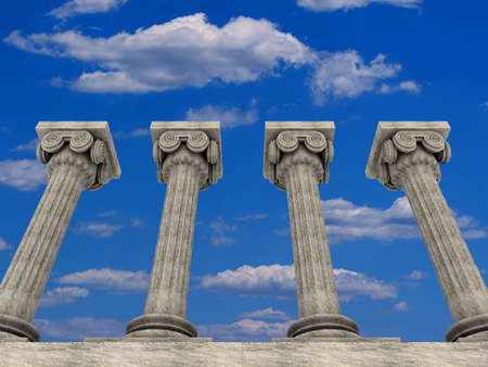 uphold: Conceptual ionic-style Greek architecture - 3d render Stock Photo